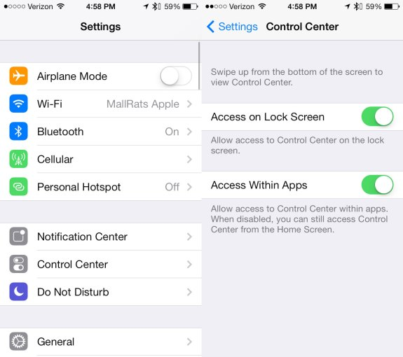 Apple only offers limited IOS 7 Control Center Customization Options.
