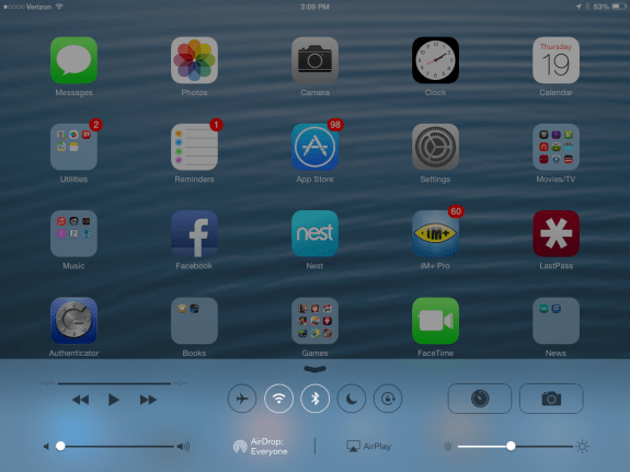 Fast access to iPad mini settings in Control Center on iOS 7.