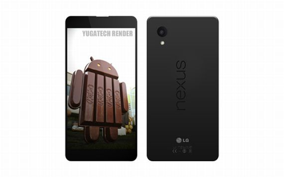 This Nexus 5 render is based on a leak from Google's Android 4.4 video.