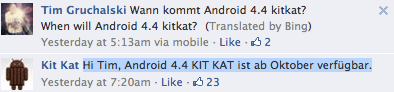 According to Nestle, the Android 4.4 KitKat update is due next month.