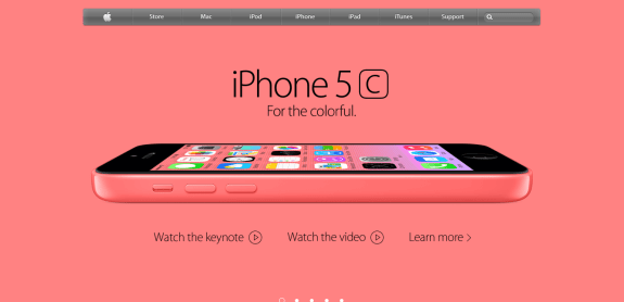 A screenshot of Apple's website depicting the iPhone 5c.