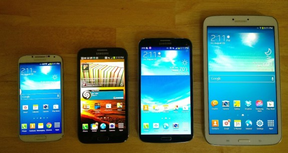Screen size comparison, from left to right: 5-inch 1080p Galaxy S4, 5.5-inch 720p Galaxy Note 2, 6.3-inch 720p Galaxy Mega, 8-inch 720p Galaxy Tab 3 8.0