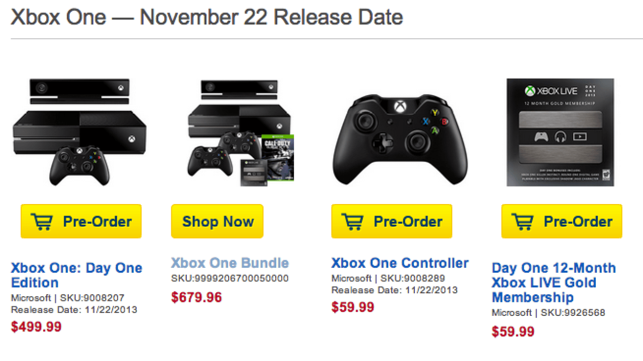 Xbox One Release Date: Day One Pre-Orders Still Available