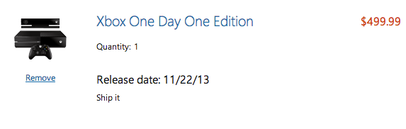 Another option for the Xbox One release date delivery from the Microsoft Store.
