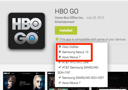 hbo go on android not compatible with nexus 7