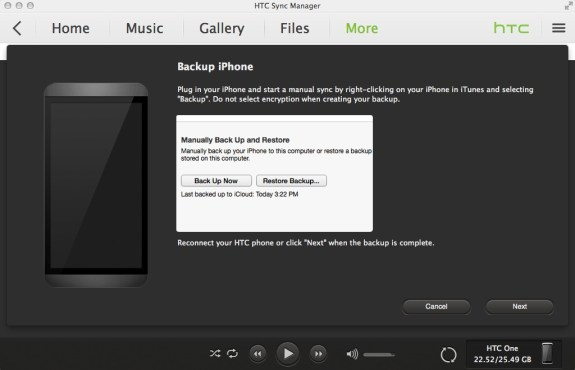 htc sync manager iphone import