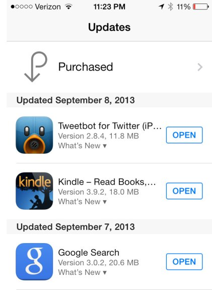 Apps will automatically update on iOS 7.