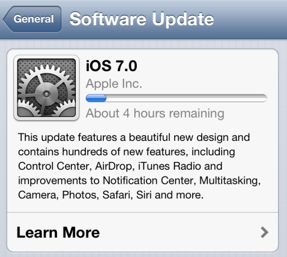 The iOS 7 download may take a while.