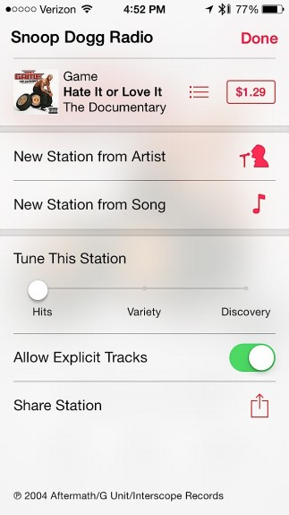 Listen to Explicit tracks and fine tune stations in iOS 7.