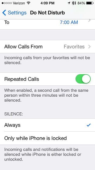 New Do Not Disturb options in iOS 7.