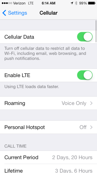 If you are in poor coverage, turn off LTE to save battery life in iOS 7.