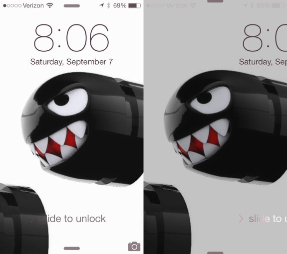 The lock screen is new in iOS 7.