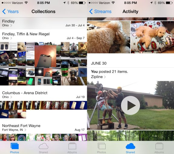 The iOS 7 Photos app is completely new.