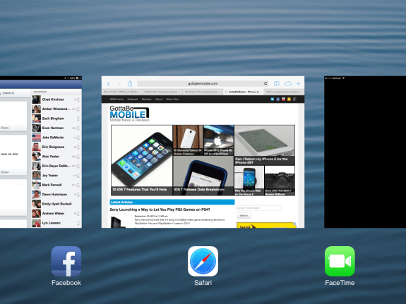 iOS 7 multitasking is at home on the iPad mini.
