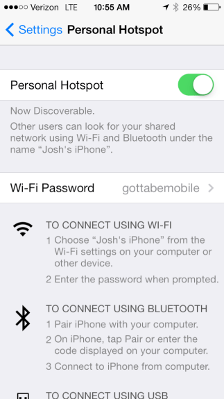 Change personal hotspot settings on iOS.