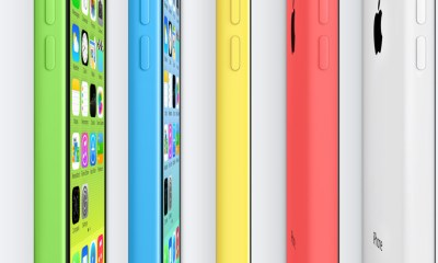 The iPhone 5c features a colorful plastic shell.