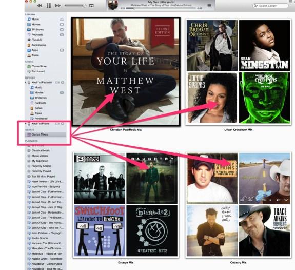 iTunes 11.1 genius mixes