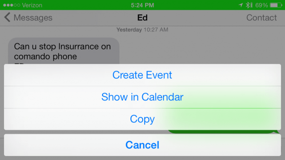 Quickly create events from iMessage.