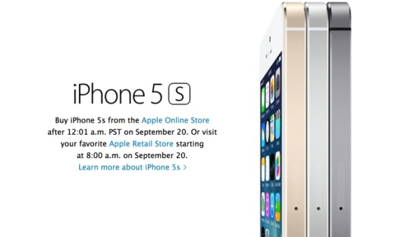 The iPhone 5S will go up for order at midnight, September 20th.