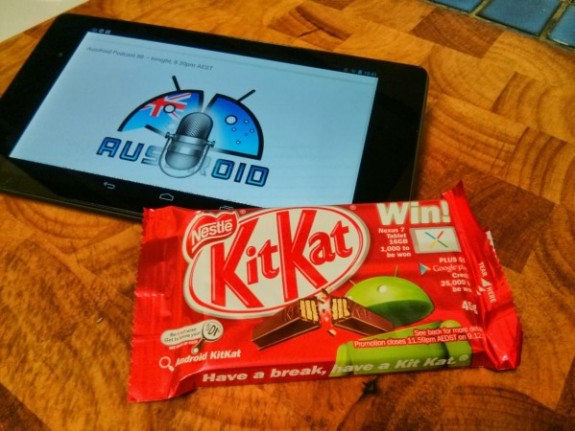 The Android 4.4 KitKat update has been spotted in the wild, sort of.