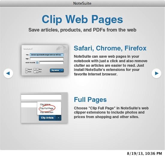 notesuite clip web pages