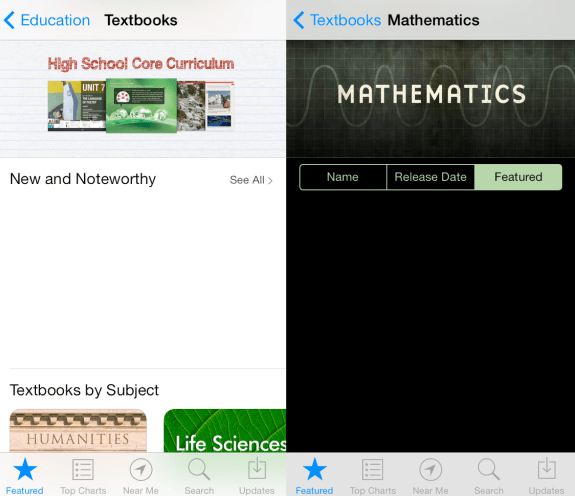 Screnshots of a new textbooks area for the iBookstore on iPhone.