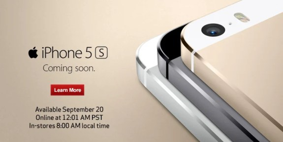 Verizon will begin iPhone 5S orders at 12:01AM PST.