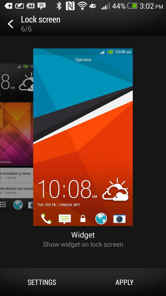 htc one lock screen style chooser