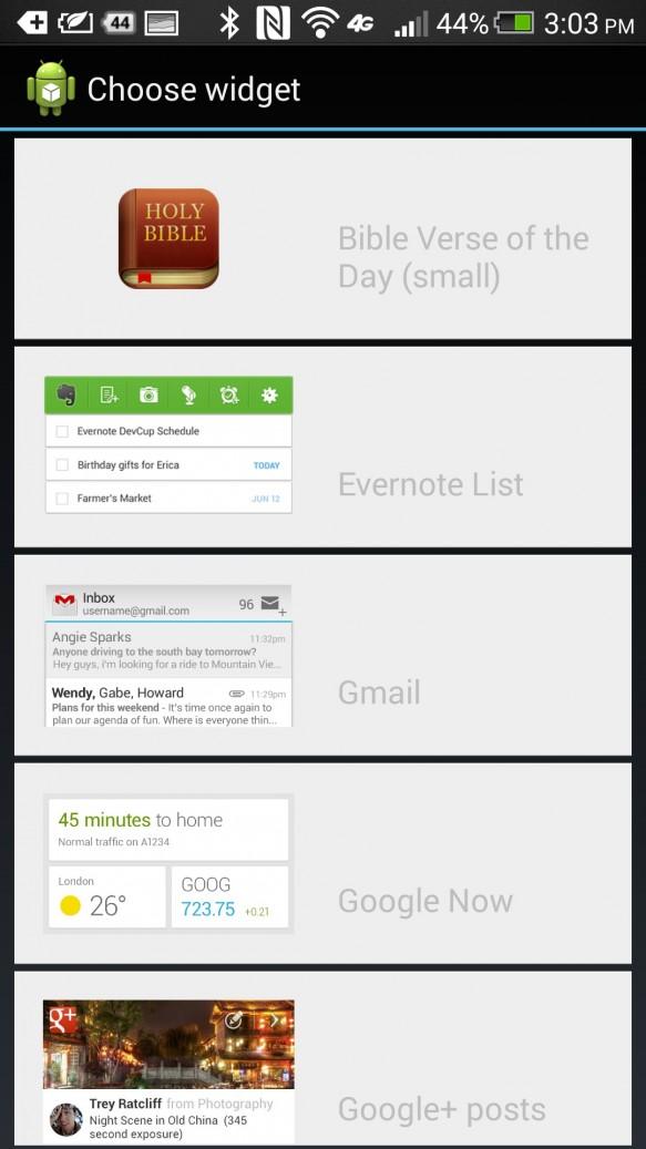 htc one lock screen widget menu