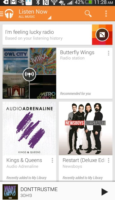 google play music adds i'm feeling lucky radio