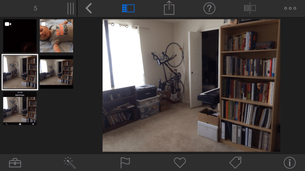 Editing the same photo in the iPhoto app on iOS 7
