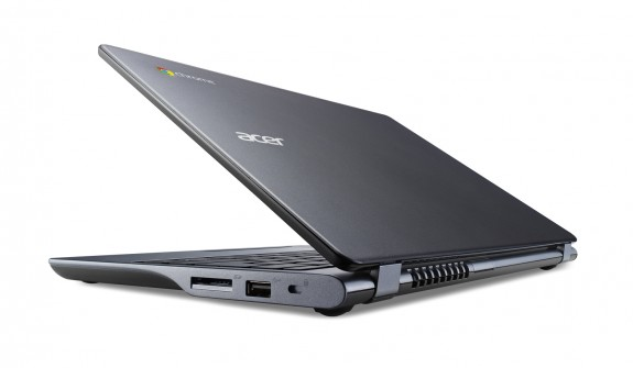 Acer Chromebook previewed at IDF rear view half closed