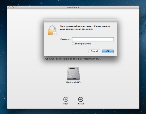 Select your hard drive and enter a password to get started.