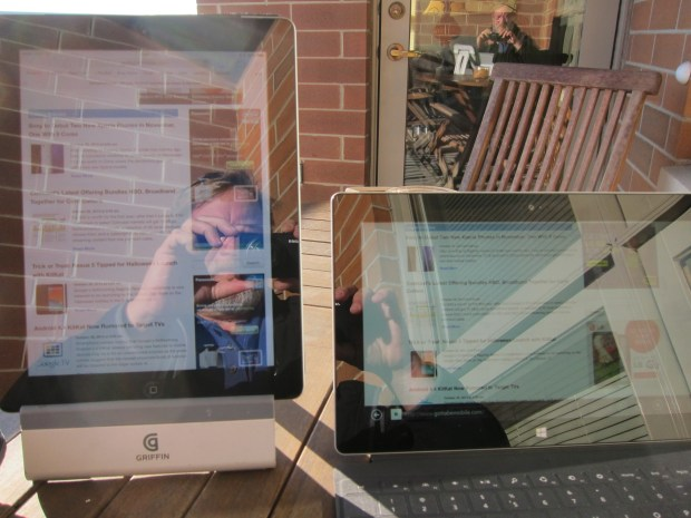 Outdoor viewing is comparable to iPad