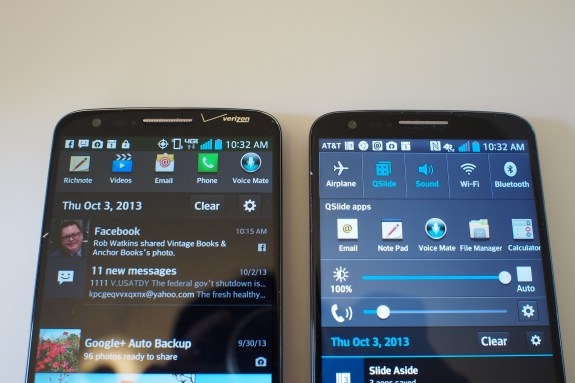 Verizon on left, AT&T model on the right gives you access to more widgets for quick controls.