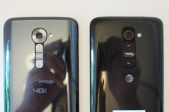 LG G2's glossy plastic back case attracts fingerprint and is non-removable. You can't increase the storage, replace the battery, or remove the battery cover with this year's sealed design.