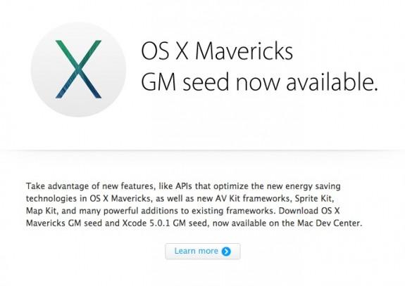 OS X Mavericks GM seed now available