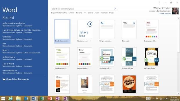 Microsoft Word 2013 on Surface 2