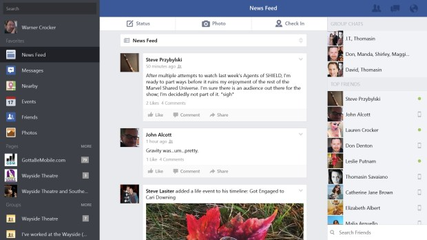 The Facebook Metro App for Surface 2