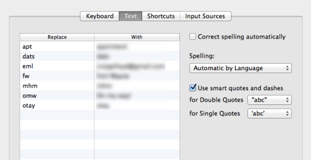text-shortcuts