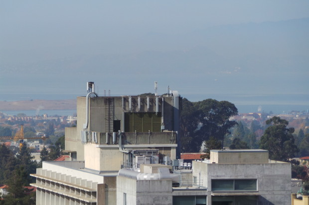 Cellular antennas mounted to rooftops of buildings throughout campus.