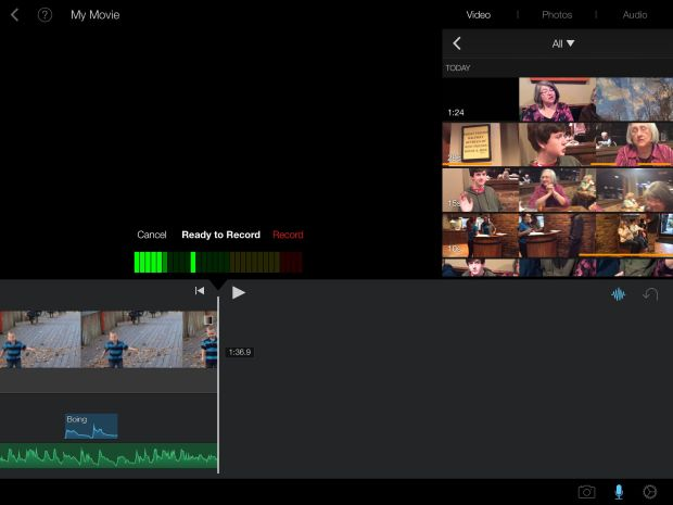 iMovie editing interface