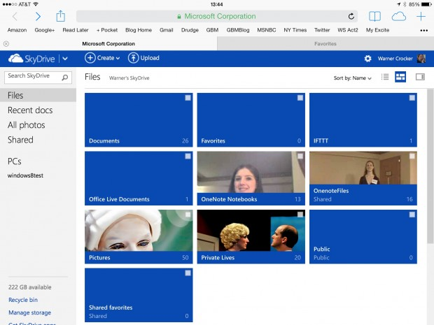SkyDrive open in browser on iPad Air