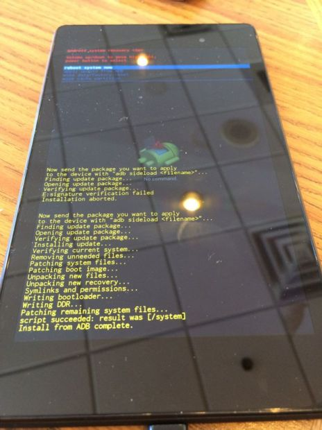nexus 7 after running kitkat manual update
