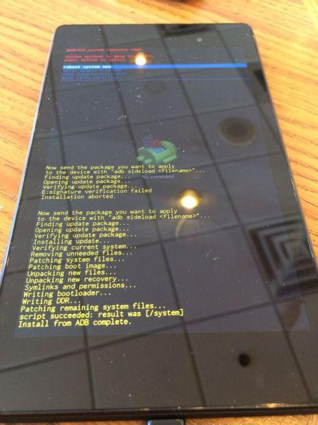 nexus 7 after running kitkat manual update