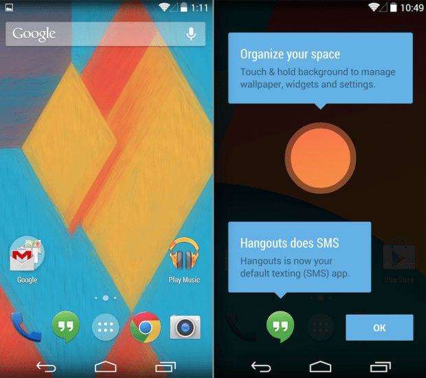 Here is the Nexus 5 Android 4.4 launcher which users can install with three files on the Nexus 4.