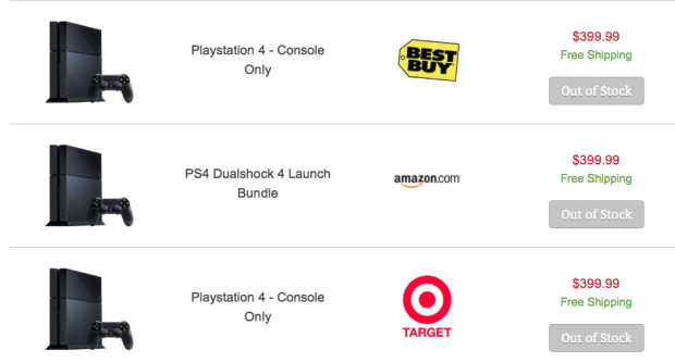 BuyVia tracks online stores to find where you can buy a PS4 online this holiday season.