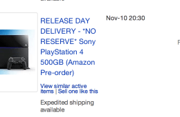 PS4 prices on eBay are high for release day delivery.