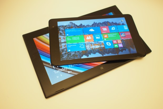 Unlike other Windows 8, Windows 8.1, and Windows RT tablets, there is no Windows key on the front of the Dell Venue 8 Pro. Dell has relocated the key to a corner edge, which helps to prevent accidental activation of the Windows key when you're gripping the slate in tablet mode.