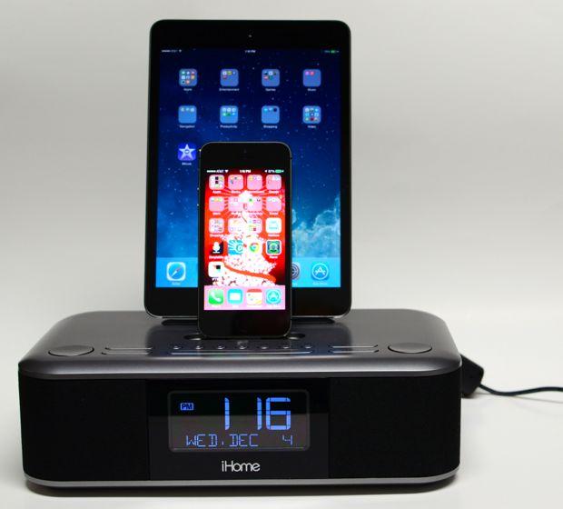 Ihometm Lcd Triple Display Alarm Clock With Dual Usb Charging - Arm